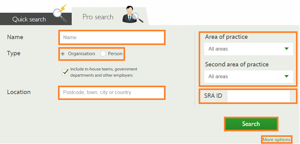 Pro search fields